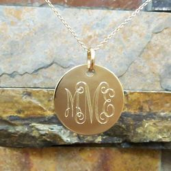 Gold Filled Round Monogram Necklace