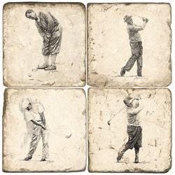 Golf Greats Marble Coaster Set