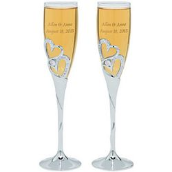 Stacked Rhinestone Hearts Personalized Wedding Flutes