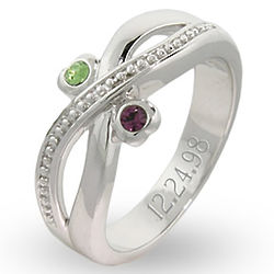 Sterling Silver Couple's Birthstone Ring in Infinity Design