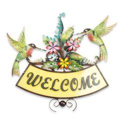 Happy Hummingbirds Iron Welcome Sign
