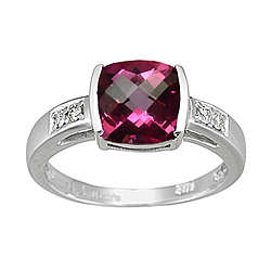 Diamond & Pure Pink Topaz Ring in 14K White Gold