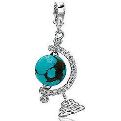 14K White Gold Diamond Turquoise 3D Globe Bracelet Charm