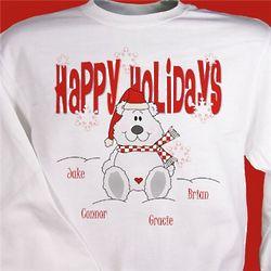 Happy Holidays Personalized Teddy Bear Sweatshirt