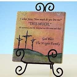 Personalized How Much Do You Love Me Tumbled Marble Tile