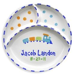 "Personalized 8"" Divided Plate with Train"