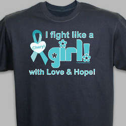I Fight Like A Girl Cervical Cancer Awareness T-Shirt