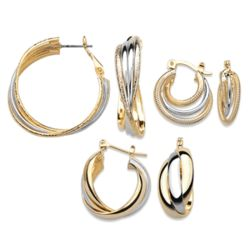 Two-Tone Hoop Earrings Set