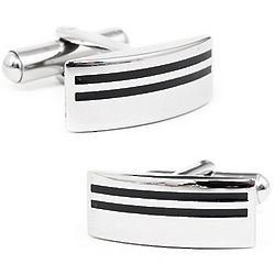 Stainless Steel Stripe Cuff Links