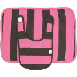 Pink and Chocolate Stripe Organic Cotton Bib and Burp Cloth