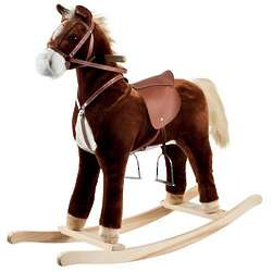 Plush Brown Rocking Horse