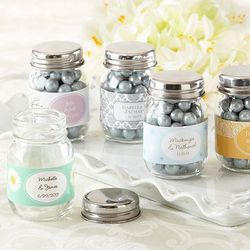 Personalized Mini Glass Mason Jar Favors