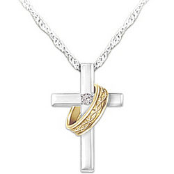 Cross and Crown of Thorns Ring Diamond Pendant Necklace
