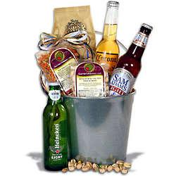 Light Beer and Gourmet Snacks Gift Basket