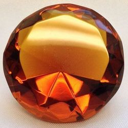 Amber Multi-Faceted Solitaire Crystal
