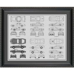 Chevrolet Corvette Blueprint Framed Print