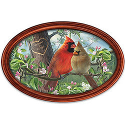 Love Birds Cardinal Art Collector Personalized Plate