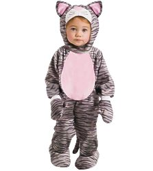 Toddler Girl's Grey Stripe Kitten Costume