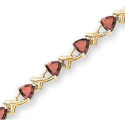 14K Yellow Gold XOXO Trillion Garnet Tennis Bracelet