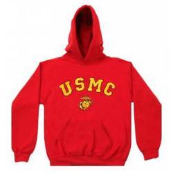 USMC Eagle, Globe & Anchor Red Hooded Sweatshirt