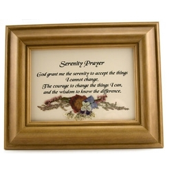 Serenity Prayer Framed Print with Pressed Flowers