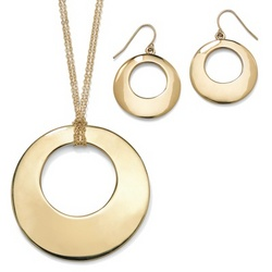 14k Gold-Plated Open-Circle Disk Jewelry Set