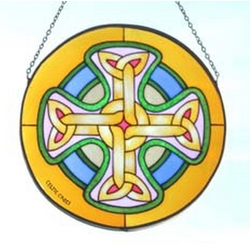 Celtic Cross Painted Glass Window Hang