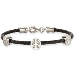 Diamond Peace Sign Black Cable Bangle