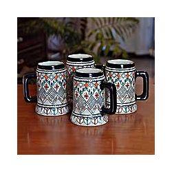 Barley Grains Ceramic Beer Mugs