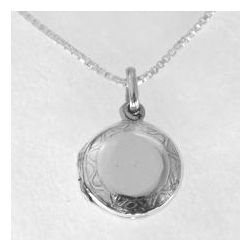 Engravable Sterling Silver Round Inlayed Locket
