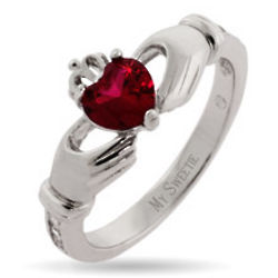 Custom Birthstone Sterling Silver Claddagh Ring
