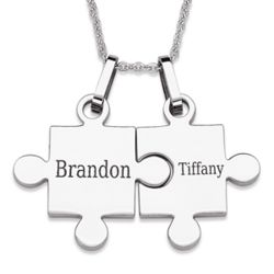 Stainless Steel Couple's Puzzle Necklaces