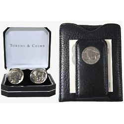 Buffalo Nickel Cuff Links and Wallet Set