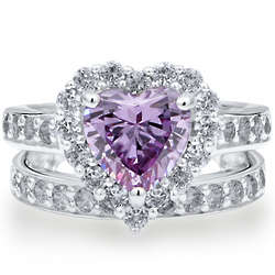 Sterling Silver Cubic Zirconia Lavender Heart Ring Set