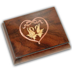 Swans in Heart Wooden Music Box