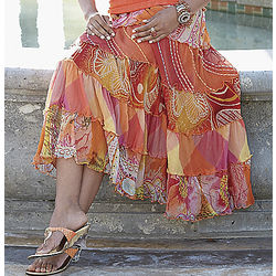 Tropical Picnic Tiered Plus Size Skirt