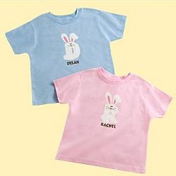 Personalized Hoppy Bunny Initial T-Shirt