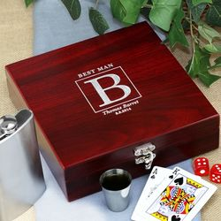 Engraved Groomsmen Poker Flask Set