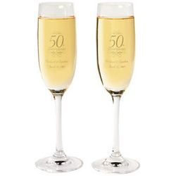 50th Anniversary Personalized Toasting Flutes