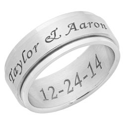 Personalized Brushed Stainless Steel Spinner Ring