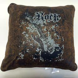 Rock Guitar Decorative Brown Pillow