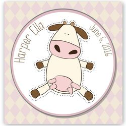 Personalized Baby Nursery Cow Canvas Print