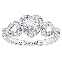 Hearts and Romance White Topaz Ring with Personalized Names