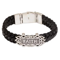 All I Need is Faith Sterling Silver & Leather Wristband Bracelet
