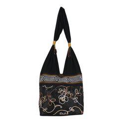 Floral Nighttime Cotton and Silk Blend Shoulder Bag