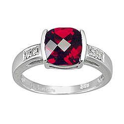Garnet & Diamond Ring in 14K White Gold
