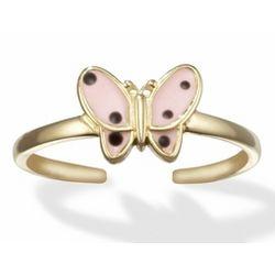 Pink Enamel Butterfly 14k Gold Toe Ring