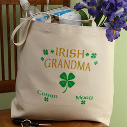 Personalized Four Leaf Clover Irish Pride Canvas Tote Bag