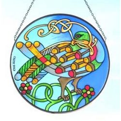 Celtic Bird Round Painted Glass Window Hang