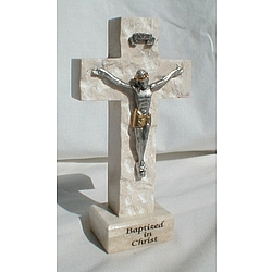 'Baptized in Christ' Jerusalem Stone Standing Crucifix